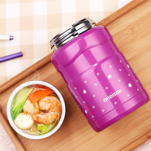 Oneday Thermo Mug 500ML Lunch Pail Container 304Stainless Steel Jar food Box Dinnerware Vacuum Insulated Thermo Soup For Outdoor