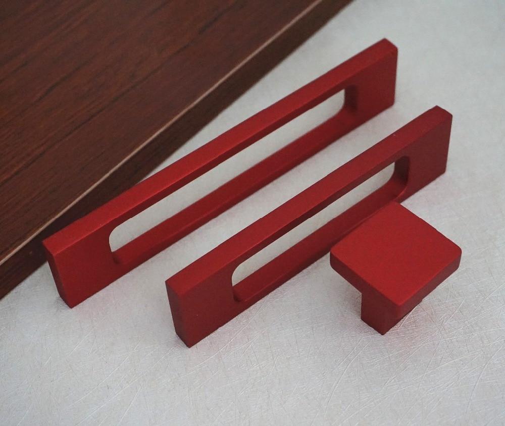 Modern Kitchen Cabinet Hardware: Red Drawer Pulls Handles Hollowed Modern Kitchen Cabinet