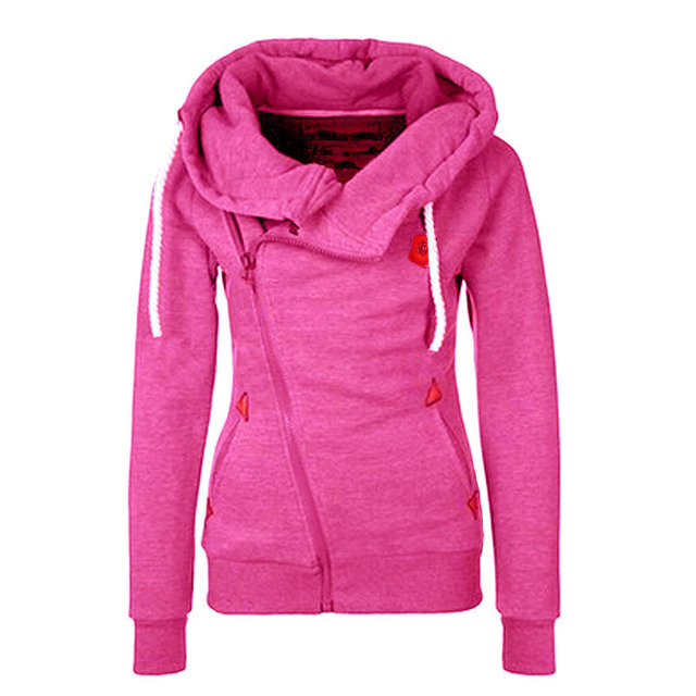 Womens Oblique Zipper Hoodies Funnel Neck Hooded Sweatshirt Jacket Coat Fashion Women Autumn Zipper Hoodies Sweatshirt Coat  255