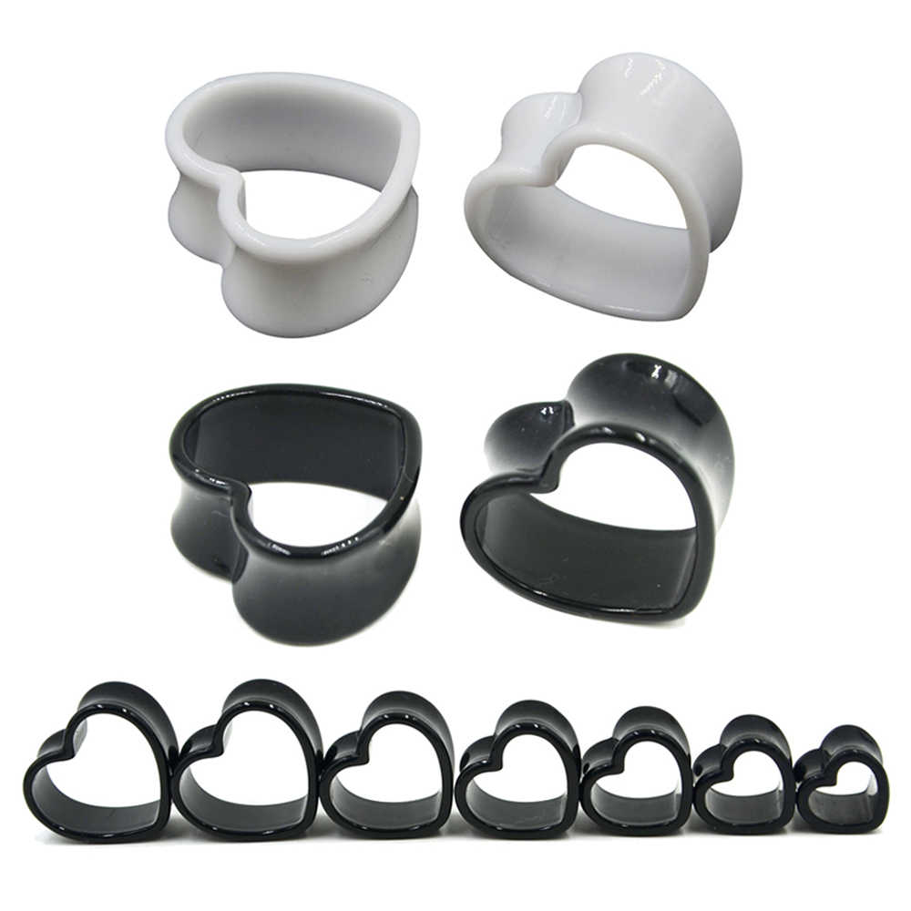 4 mét-25 mét Cặp Black & White Love Heart Acrylic Flesh Tunnel Cắm Jewelry Body Piercing Băng Expander Ear Đo Earlets