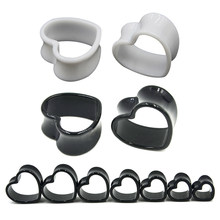 4 mét-25 mét Cặp Black & White Love Heart Acrylic Flesh Tunnel Cắm Jewelry Body Piercing Băng Expander Ear Đo Earlets(China)