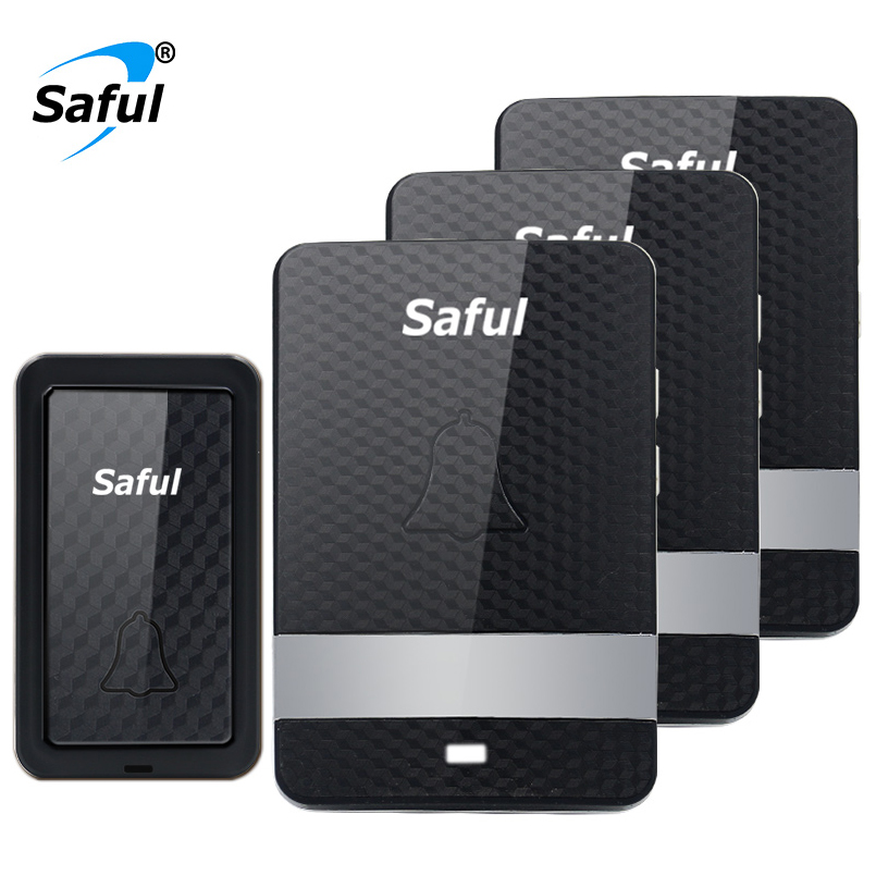 Saful Self-powered Waterproof Wireless Doorbell 28 Rings EU/US/UK/AU 100M with 1 Outdoor Transmitter+3 Indoor Receiver Led Light
