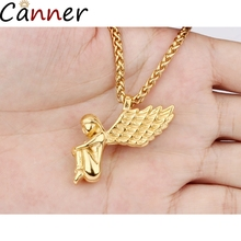 Canner Cute Angel Wings Necklaces Women Lovely Long Necklace Gold Stainless Steel For Girls Jewelry Collares Gifts F40