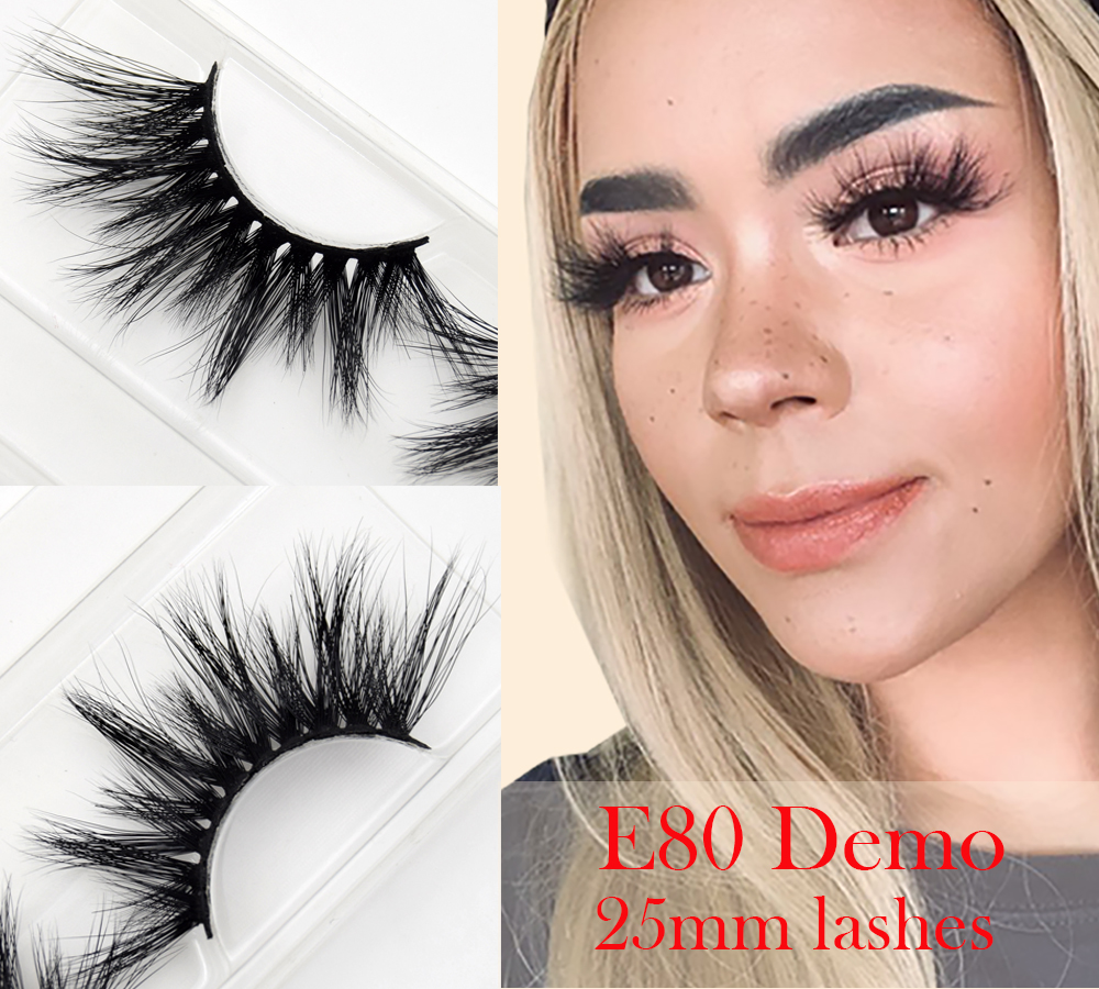 Visofree Mink Eyelashes False Eyelashes Natural Fake Lashes Long 25mm Lashes Makeup 3D Mink Lashes Extension Eyelash Beauty E80