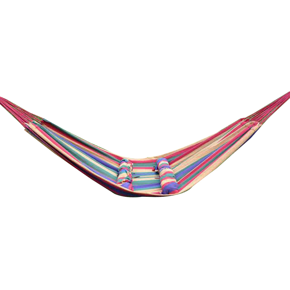 280x80cm Leisure Outdoor Multi-functional Hammocks Canvas Stripe Swing for Backpacking Travel Camping multi stripe pattern slit culottes