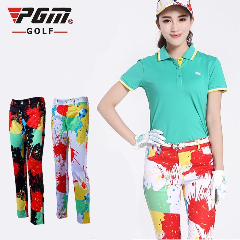 PGM Women Golf Slim Pants Ladies Colorful Trousers High ...