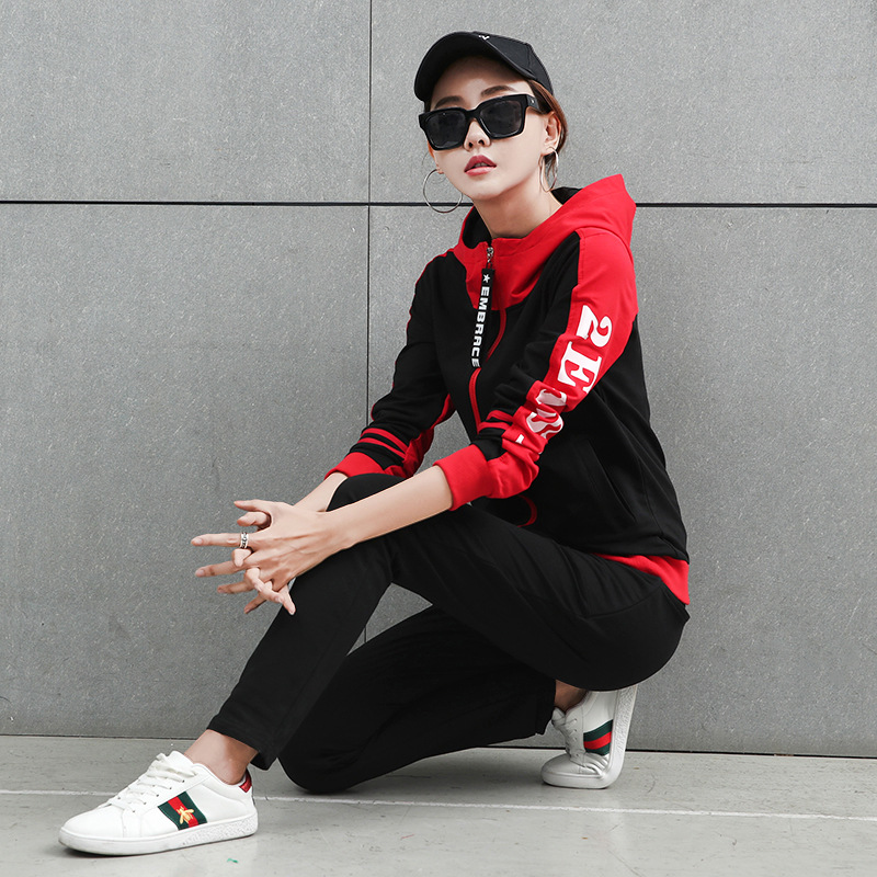 Sportswear Women Two Piece Set 2019 Casual Woman Sporting Suits Zipper Hoodies Pants Sets Female 2pcs Suit Tracksuits Outfits
