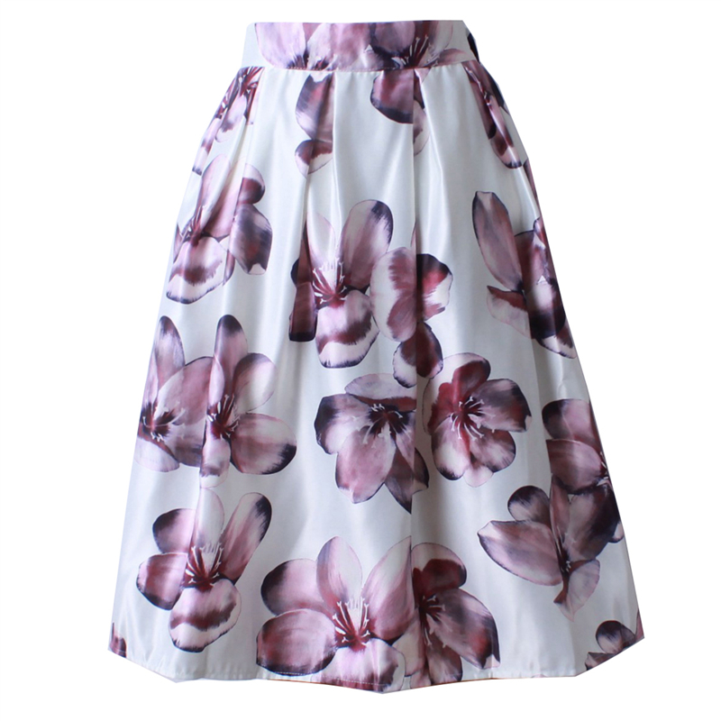 Neophil 2019 Retro Fashion Women Black White Pleated Flower Floral Print High Waist Midi Ball Gown Flare Short Skirts Saia S1225