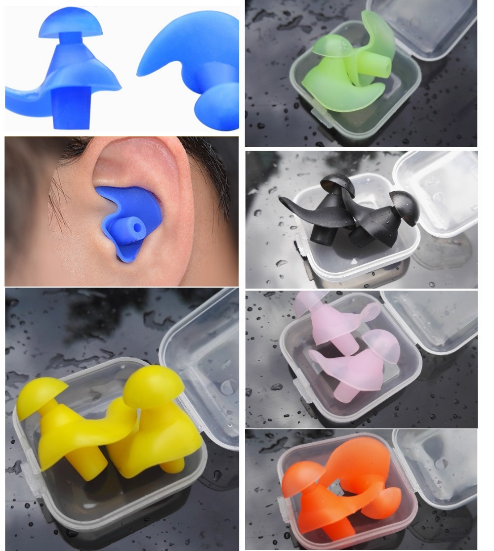 1 Pair Soft Ear Plugs Swimming Silicone Waterproof Dust-Proof Earplugs Diving Water Sports Swim Swimming Anti-noise Accessories