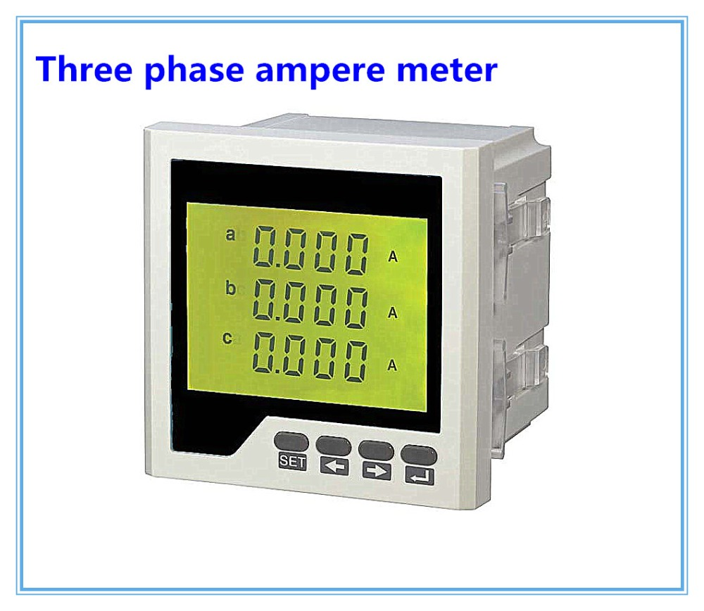 Three phase digital ampere meter LCD AC digital current meter 3AA series with different size, ammeter digital panel meter цены