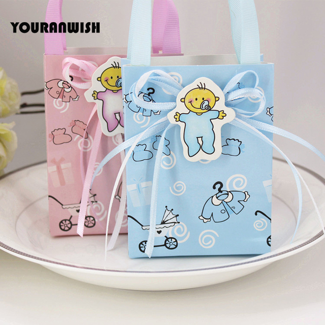 20pcs Baby Shower Christening Chocolate Gift Bags Party Favor Box