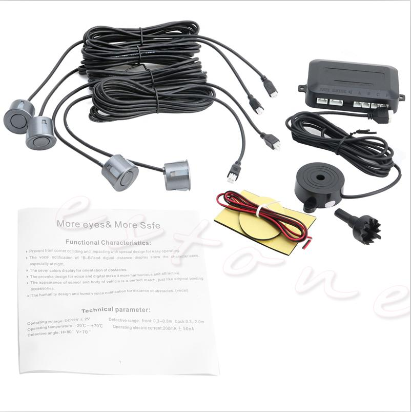 4Parking Sensors Car Reverse Backup Rear Buzzer Radar System Display Sound Alarm