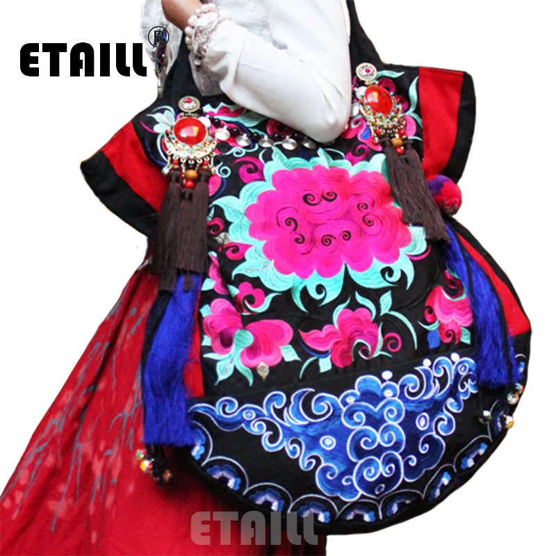 Large Big National Vintage Chinese Hmong Ethnic Thai Indian Boho Beads Embroidered Shoppers Bags Luxury Logo Bag Sac a Dos Femme yunnan hmong vintage ethnic embroidered boho indian floral embroidery thailand famous brand logo bag and handbag sac a dos femme