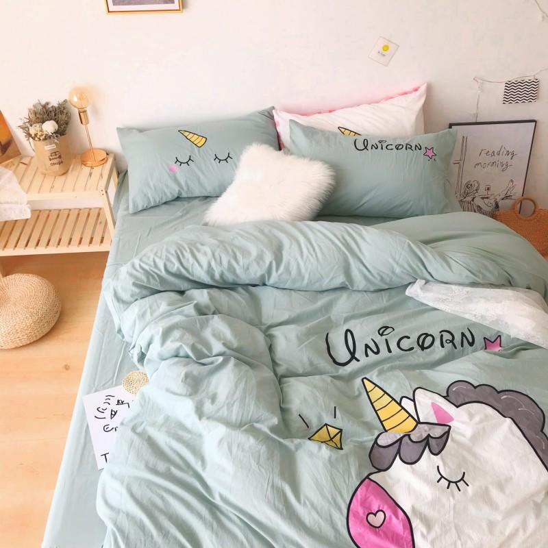 Unicorn Bedding White Green Washed Cotton Shabby Duvet Cover Bedding Set Relaxed Soft Natural Wrinkled Twin Queen King Bed sheet