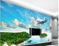 3D Wallpaper Custom Photo Wallpaper Large Wall Painting Wall Paper Seaside Island Rainforest Plane TV Background 3D Mural Wall