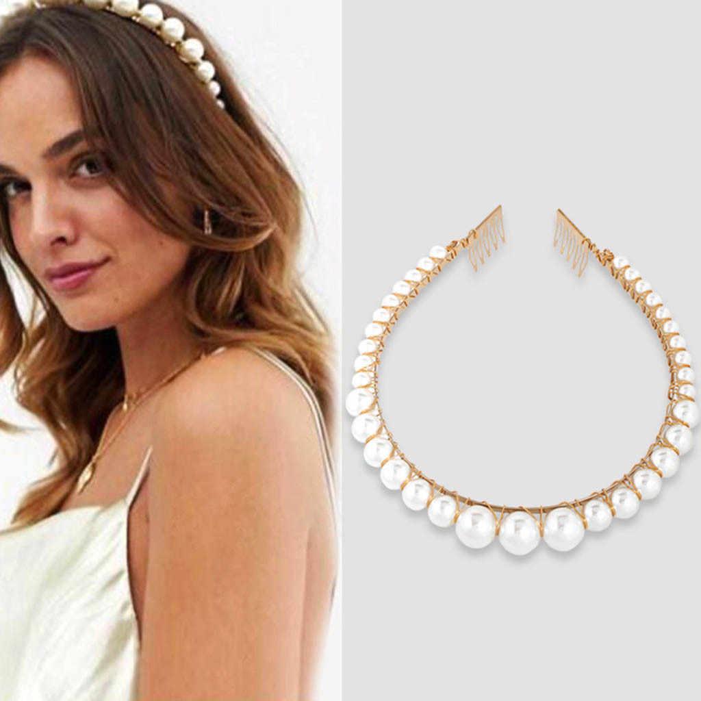 2019 Big Pearls Hairbands Elegant Headband Women Headwear Cute Bear Ear Hair Hoop Bezel for Girls Hair Accessories