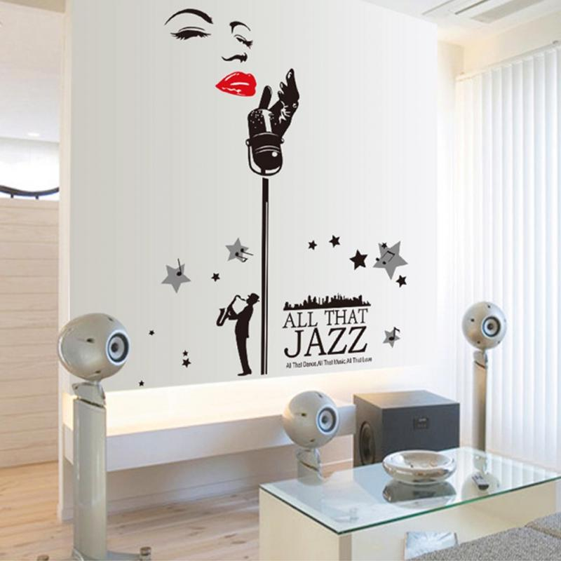 Wall Decal Vinyl Sticker Decals Sax Saxophone Musican Jazz Music Notes China Mainland