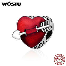 WOSTU 100% 925 Sterling Silver First Love Engrave Arrow Heart Charm Beads Fit Charm Bracelet Jewelry Valentine Day Gift CQC480(China)