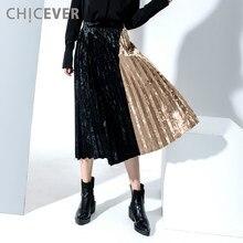 2ec536dfc83 CHICEVER Velvet Pleated Midi Long Skirt High Waist Women Skirts Contrast  Color A Line Suede Clothing Korean Autumn Winter 2017