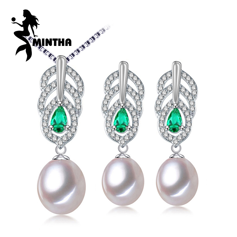 MINTHA Pearl Jewelry Sets,Pearl Pendant Necklace Earrings For Women,Leaves Emerald leaf big earrings set fine jewelry with box a suit of delicate pearl rhinestone leaf necklace and earrings for women