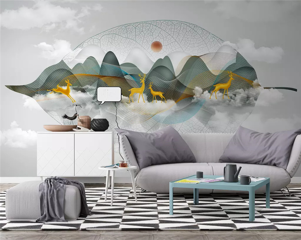 beibehang Customized new Chinese landscape line fashion elk tree leaves TV background papel de parede 3d wallpaper papier peint in Wallpapers from Home Improvement