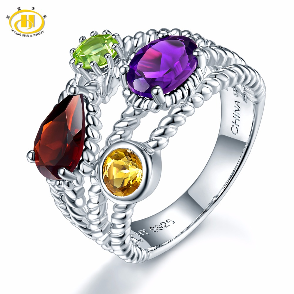 Hutang Multi Natural Gemstone Rings Garnet African Amethyst Citrine 925 Sterling Silver Ring Fine Jewelry for Womens Gift NewHutang Multi Natural Gemstone Rings Garnet African Amethyst Citrine 925 Sterling Silver Ring Fine Jewelry for Womens Gift New