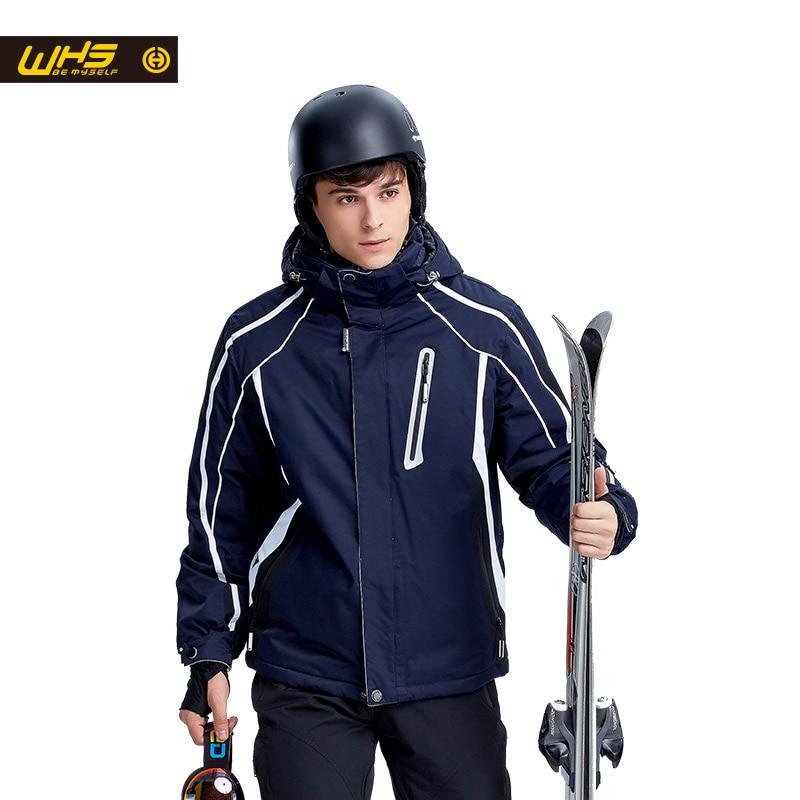WHS жаңа шаңғы курткасы ерлерге арналған ашық спорттық пальто жылы, желге төзімді қар күртелері, су өткізбейтін дем алатын спорт киімі