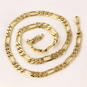 Image 3 - Mens 24 k Solid Gold FINISH  8mm Italian Figaro Link Chain Necklace 24 Inches