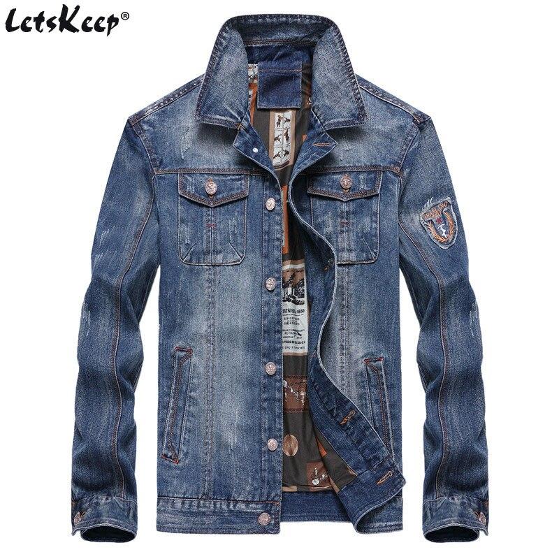 2XL-7XL LetsKeep denim veste hommes jeans vintage automne col rabattu veste hommes survêtement jean veste manteau grande taille, MA521