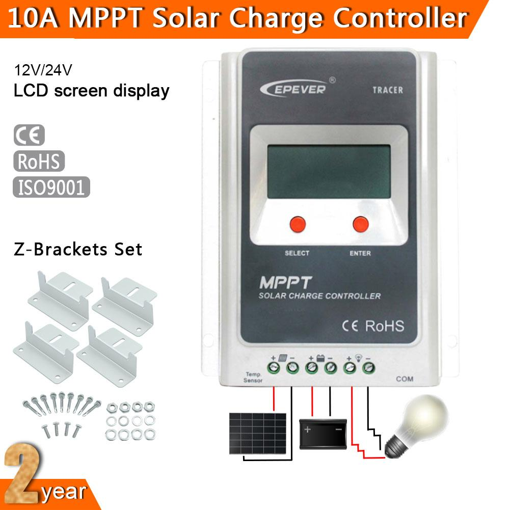10A MPPT Solar Panel Battery Charge Controller Regulator 12V/24V Auto Safe Protection LCD Display + Z-bracket Mounting Kit A391