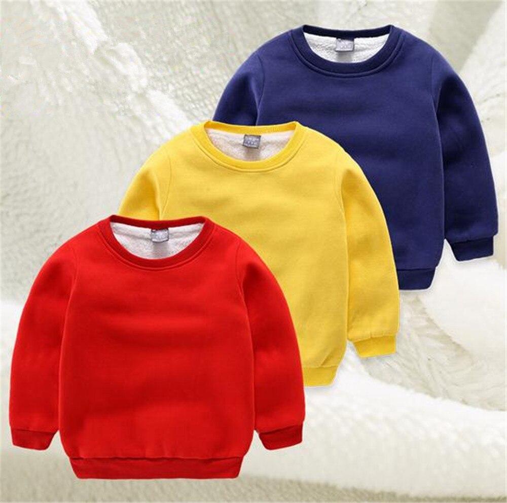 Brand Winter Children's Sweater Baby Boys Jacket Girls Hoodies Round Collar Fleece Kids Pure Color Coat Unisex Outwear Coat elegant stand collar pockets design pure color coat for men