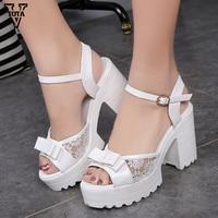 2016 Women Shoes Fashion Women Sandals New Summer Shoes Open Toe Sandals Thick Heel High Heeled