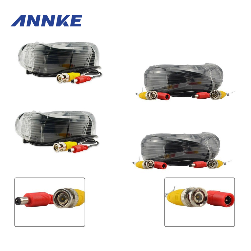 ANNKE 4PCS A Lot 30M 100ft CCTV Cable BNC + DC Plug Video Power Cable For Wire Camera And DVR Surveillance System Accessories 10 pcs lot cctv system solder less twist spring bnc connector jack for coaxial rg59 camera for surveillance accessories