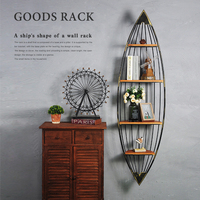 Vintage iron boat shape racks living room bedroom decorations shop cyber cafe wall wall decoration pendant jewelry