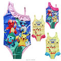 Swimwear For Children Girls Summer Swimsuit Baby Kids Clothes Cartoon dog Print Clothing Pokemon Elsa Princess Swimming Suit set