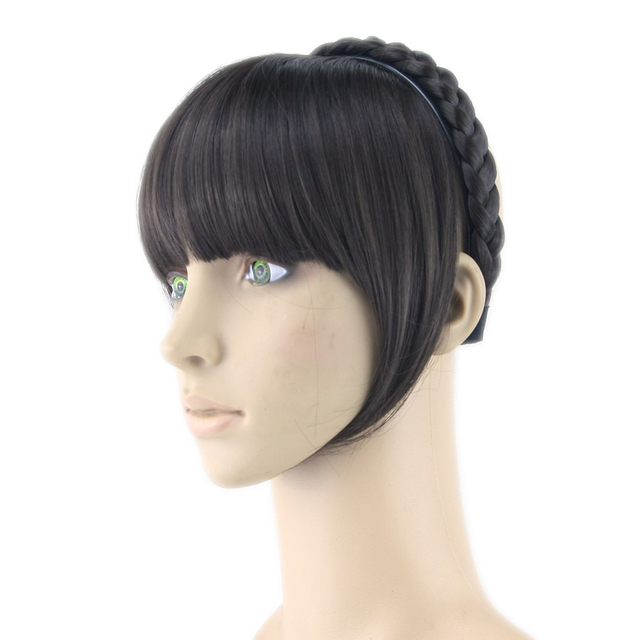 Soowee 8 Colors Synthetic Hair Fringe Black Blonde Bangs With Braided Clip Hairpieces Accessories