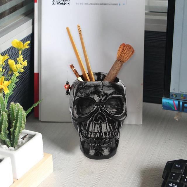 d15cc5d8235e US $12.79 30% OFF|Black Skull Storage Pen Holder Horror Funny Skull  Multifunction Storage Box Flower Pot Halloween Gift-in Storage Bottles &  Jars from ...