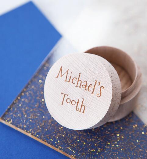 Custom Names My First Tooth Engraved Wooden Tooth Fairy Keepsake Box