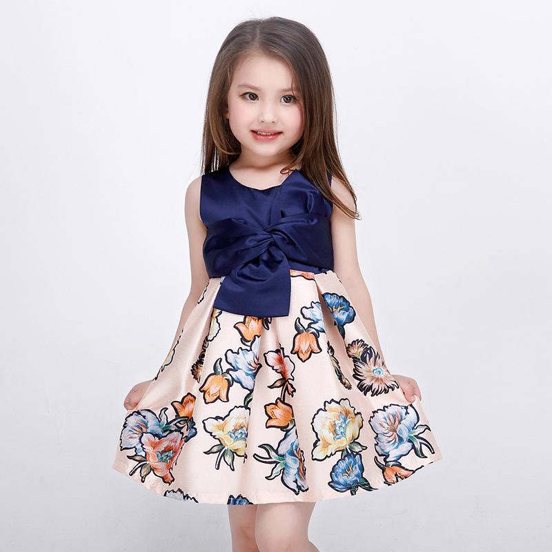 ea588cd5049 Girl Dress with Floral Print Sleeveless Party Girls Knee Length Dresses Big  Bow Vintage Kids Vest Dress Vestido 100-160CM