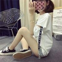 2017 News Style Girls Wear Summer Casual Fashion Brand Korean Harajuku Women Tops Half Sleeve Letter