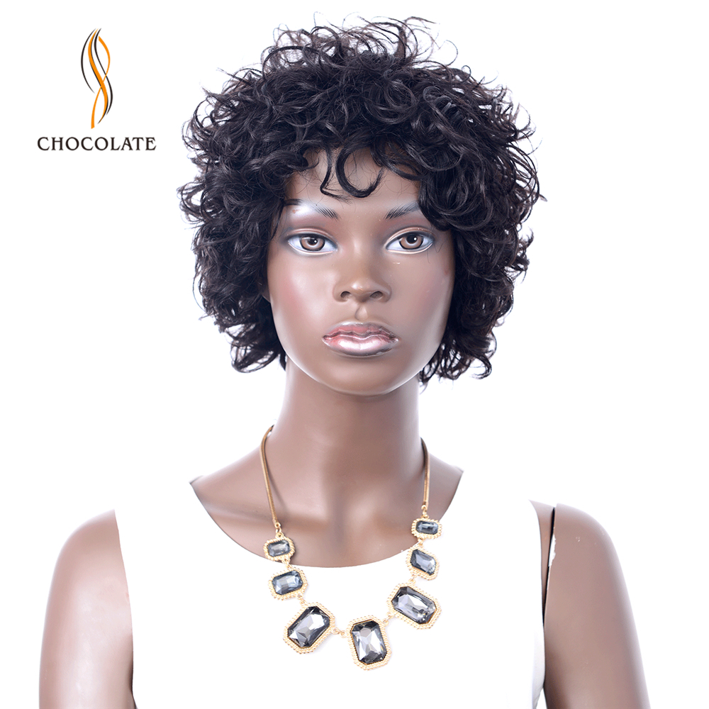 CHOCOLATE Brazilian Short Human Hair Wigs For Black Women Natural Color Remy Machine Made Glueless Bouncy Short Bob Curly Wigs