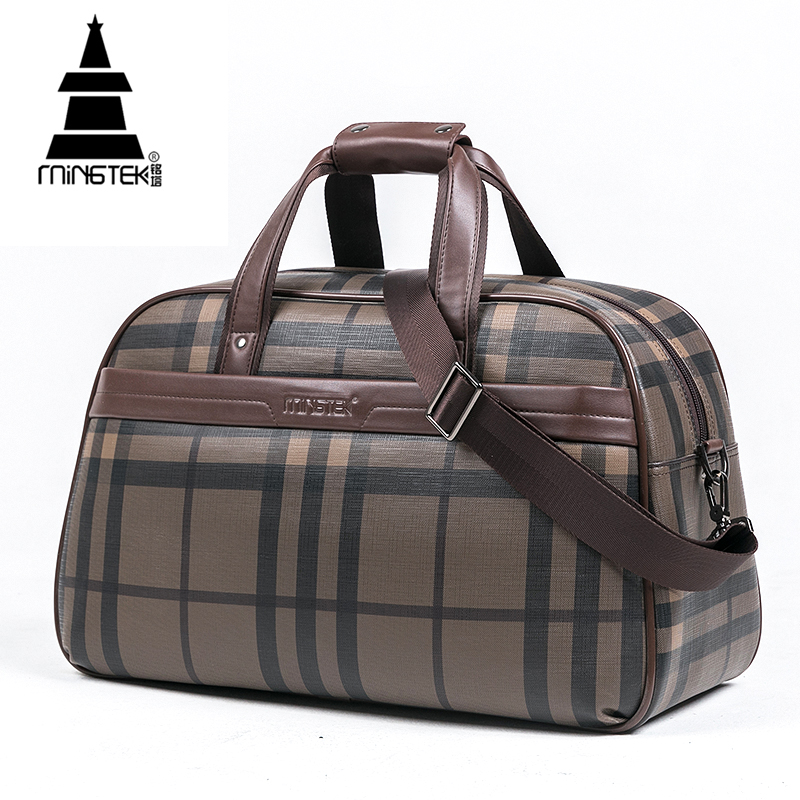 Weekender Carry On Luggage PU Waterproof Plaid Travel Duffle Tote Bag Large Capacity High Quality Hand Luggage Bags Men Women