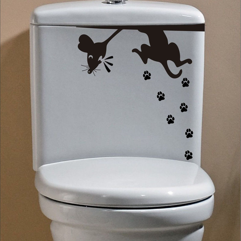 Black Cat Scared Rat Mouse Funny Toilet Stickers Bathroom Decoration Decal 4ws 0025