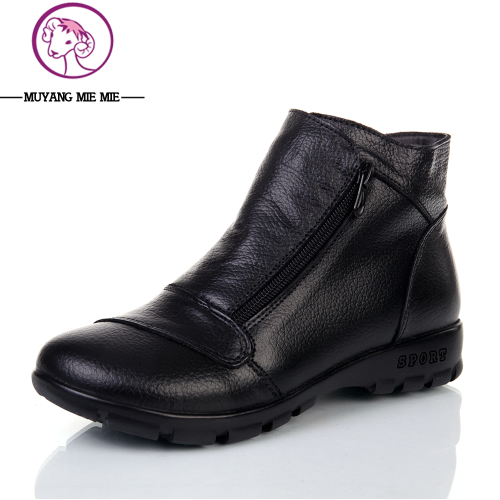 New Genuine leather winter boots women fur inside female ...