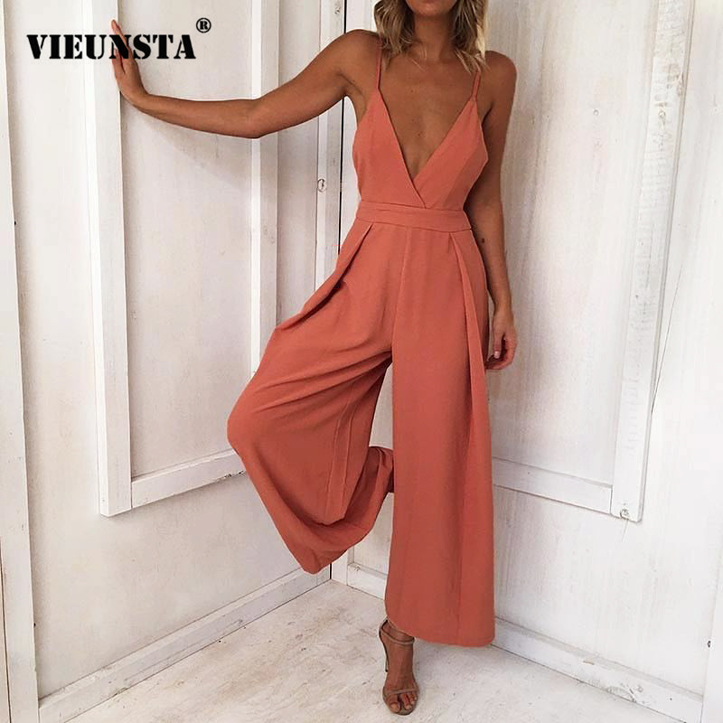 VIEUNSTA 17 Colors Women Strap Backless Long   Jumpsuits   2018 New Fashion Back Bow Flare Leg Playsuit Summer Beach Loose   Jumpsuit