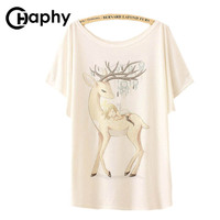 2017 Women T Shirts Deer And Angell Girl Print T Shirt Camisetas Mujer Summer Tshirt Camisetas