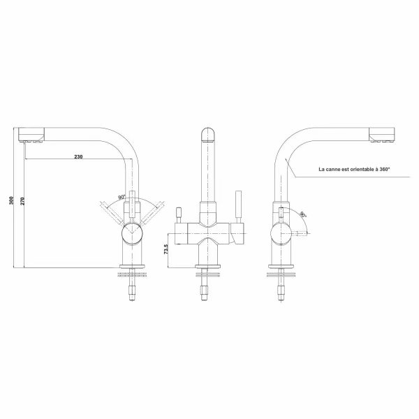 Rolya Ronda 3-Way Kitchen Faucet Osmosis Tri Flow Sink Mixer 3 Way Water Filter Tap Chrome Solid Brass