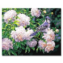 WEEN Purple flowers bird-DIY Painting By Numbers Kit,Modern Wall Art Picture,Canvas Paint Number, Acrylic 40X50cm