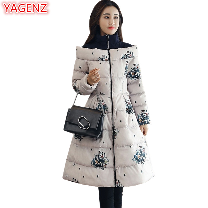 YAGENZ Top quality Women clothing Winter Jacket Women Parkas Coat Long section Fashion Printing Large size Women Cotton Coat 696