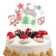 Cake Topper Flags Christmas Penguin Elk Santa Claus Kids Happy Birthday Cupcake Cake Topper Wedding Party Baby Shower Baking DIY шорты спортивные kappa kappa ka039emifkr1